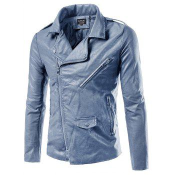 Epaulet Design PU-Leather Plus Size Turn-Down Collar Zip-Up Jacket