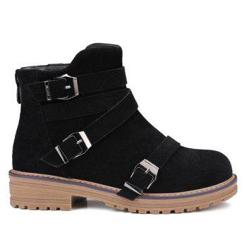 Zipper Buckles Cross Straps Ankle Boots
