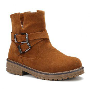Suede Cross Straps Double Buckle Short Boots