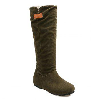 Buy Round Toe Hidden Wedge Mid Calf Boots ARMY GREEN