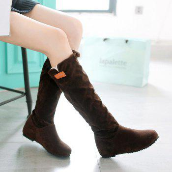Round Toe Hidden Wedge Mid Calf Boots