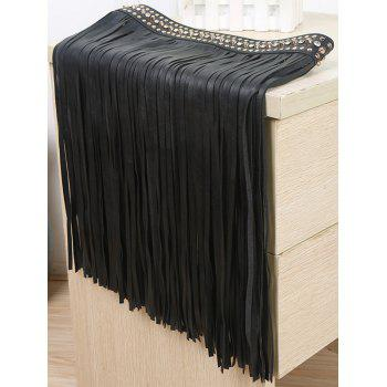 Popular Rivet Long Tassel Skirt PU Belt