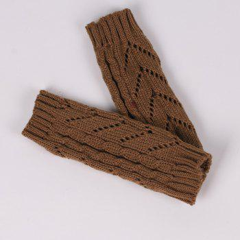 Pair of Hollow Out Chevron Crochet Knitted Fingerless Gloves - COFFEE