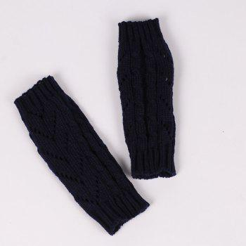 Pair of Hollow Out Chevron Crochet Knitted Fingerless Gloves - BLACK
