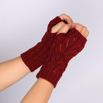 Pair of Hollow Out Chevron Crochet Knitted Fingerless Gloves -  WINE RED
