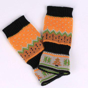 Pair of Christmas Tree Snow Crochet Knitted Fingerless Gloves - BLACK