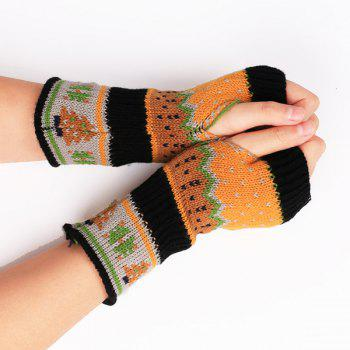 Buy Pair Christmas Tree Snow Crochet Knitted Fingerless Gloves BLACK