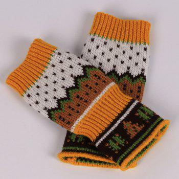 Pair of Christmas Tree Snow Crochet Knitted Fingerless Gloves - ORANGE YELLOW