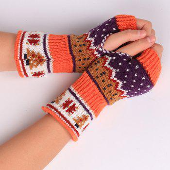 Pair of Christmas Tree Snow Crochet Knitted Fingerless Gloves