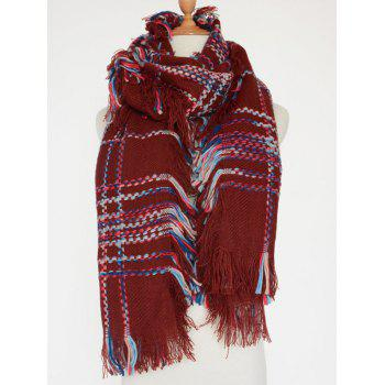 Casual Plaid Braid Fringed Edge Shawl Scarf