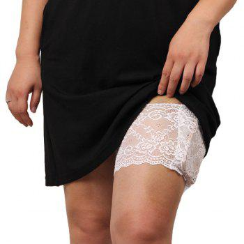 Burglarproof Pocket Design Flower Lace Thigh Band - WHITE WHITE