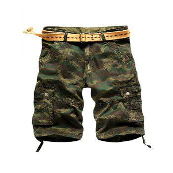 Multi Stitch Snap Button Pockets Camo Cargo Shorts