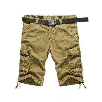 Muti-Pocket Zipper Fly Knee Length Cargo Shorts