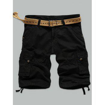 Muti-Pocket Zipper Fly Rivet Embellished Cargo Shorts