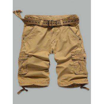 Muti-Pocket Straight Leg Rivet Embellished Cargo Shorts