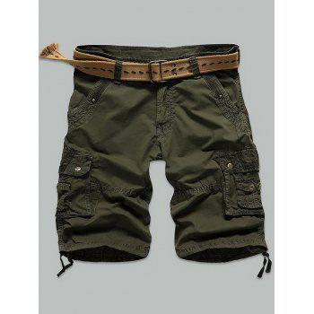 Muti Stitch Zipper Fly Rivet Embellished Cargo Shorts
