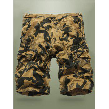 Camo Buckled Multi-Pocket Cargo Shorts
