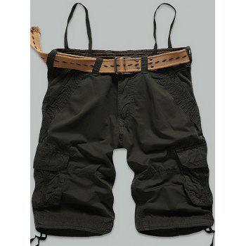 Zipper Fly Stitch Multi-Pocket Cargo Shorts