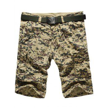 Zipper Fly Camo Multi-Pocket Cargo Shorts
