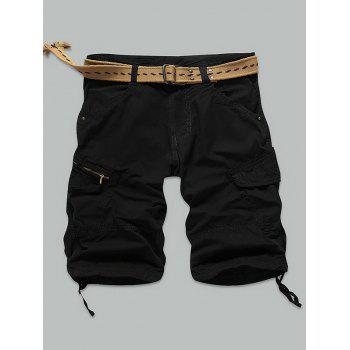 Knee Length Pocket Rivet Zippered Cargo Shorts BLACK