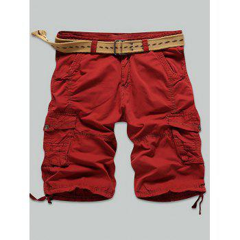 Zipper Fly Multi Stitch Snap Button Pockets Cargo Shorts
