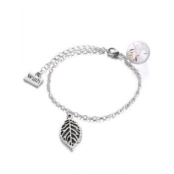 Glass Dry Dandelion Leaf Wish Bracelet