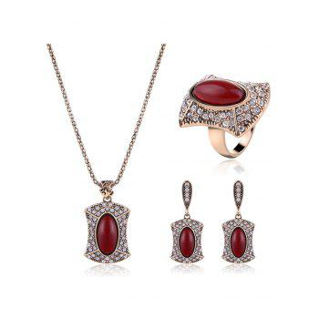 Rhinestoned Faux Ruby Oval Jewelry Set