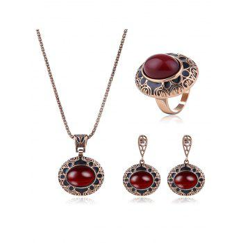 Faux Ruby Engraved Floral Jewelry Set