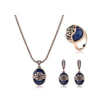 Faux Sapphire Engraved Floral Jewelry Set