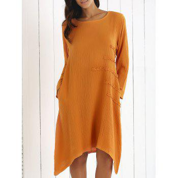 Long Sleeve Asymmetrical Ruffle Dress with Pockets