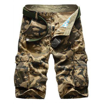 Zipper Fly Multi-Pocket Straight Leg Camo Cargo Shorts