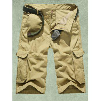 Multi-Pocket Zipper Fly Straight Leg Cargo Shorts