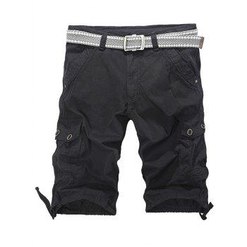 Drawstring Hem Loose-Fitting Zipper Fly Cargo Shorts