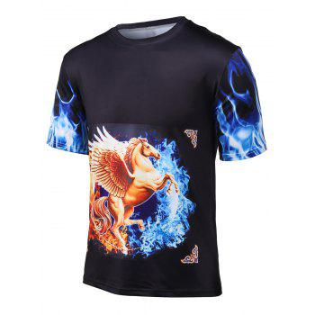 3D Horse Horse Printed Round Neck Cool T-Shirt