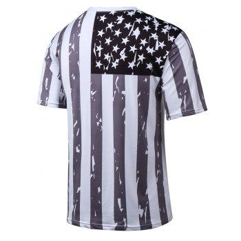 Short Sleeve 3D Printed Star Striped T-Shirt - WHITE M