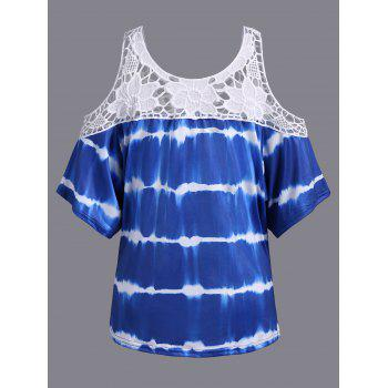 Plus Size Cold Shoulder Lace Insert Print T-Shirt