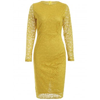 Long Sleeve Lace Pencil Sheath Dress