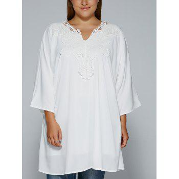 Plus Size Crochet Lace Splicing Loose-Fitting Blouse