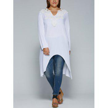 Plus Size Lace Splicing High Low Blouse