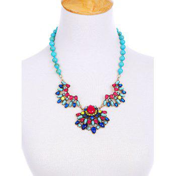 Faux Gem Teardrop Fake Collar Necklace