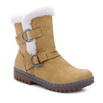 Buckle Faux Fur Slip On Snow Boots