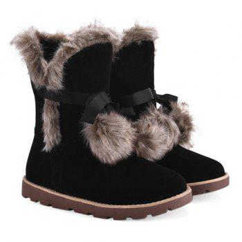Hairball Fuax Fur Lace Up Snow Boots