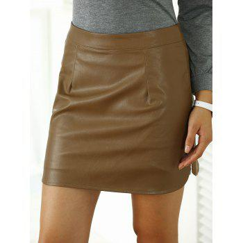 Faux Leather Side Slit Plain Skirt