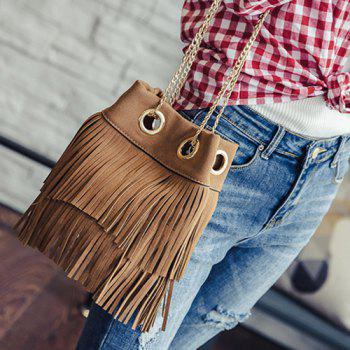 Magnetic Closure Chains Suede Fringe Crossbody Bag