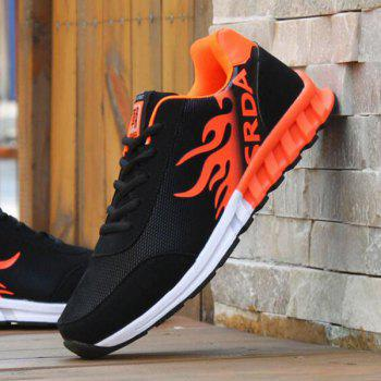 Buy Tie Colour Block Breathable Athletic Shoes BLACK/ORANGE