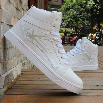 Tie Up PU Leather Colour Splicing Casual Shoes - WHITE WHITE