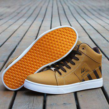 Tie Up Color Splicing Striped Pattern Casual Shoes - LIGHT BROWN LIGHT BROWN