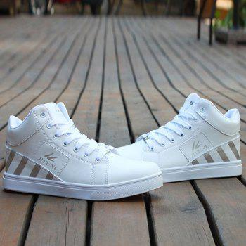 Tie Up Color Splicing Striped Pattern Casual Shoes - WHITE WHITE