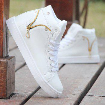 PU Leather Lace Up Zipper Casual Shoes