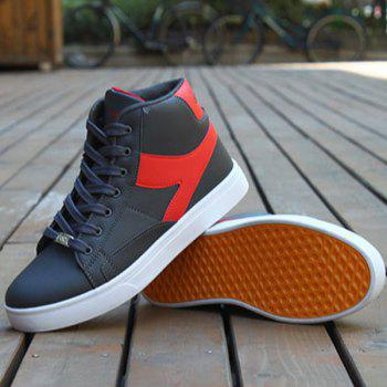 Faux Leather Color Block Casual Shoes - GRAY/RED 43
